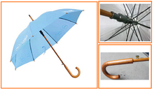 Wooden Shaft Stick Umbrella with Self-match Curved Wooden Handle