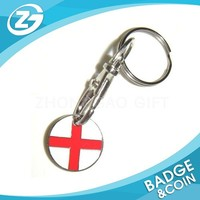 ENGLAND Flag Stainless Metal Coin Trolley Keychain Figure