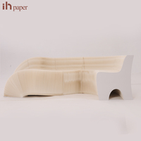 12 Softseating Kraft Paper Eco-friendly Collapsible Couches Felt/rush/leather Cushions Accordion Folding Living Room Sofa