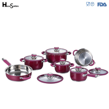 Red marble coating prestige nonstick surgical stainless steel cookware set