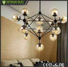 Luxury 5 / 10 / 15 / 21 heads vintage industrial hanging glass ball modern lighting pendant chandelier