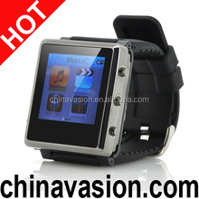 MP4 Player Watch with Removable Strap, 1.5 Inch Screen, eBook Reader, Micro SD Card Slot (Black)