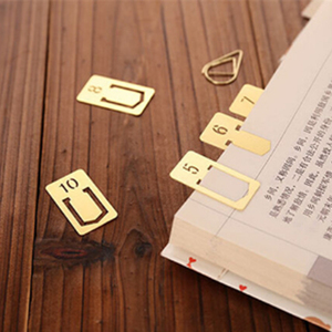 Exquisite student stationery vintage hollowed-out digital design brass metal bookmark pack gift box