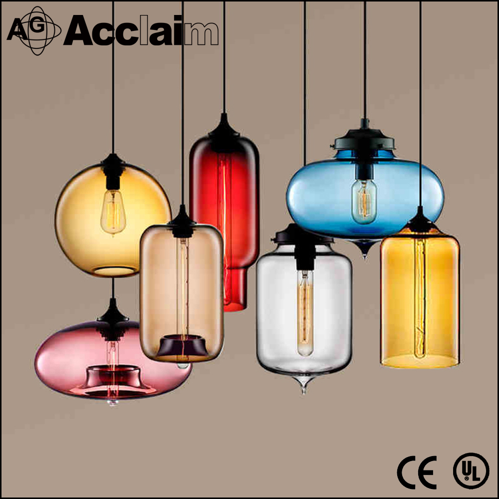 New design glass chandelier pendant light with colorful glass lamp shade