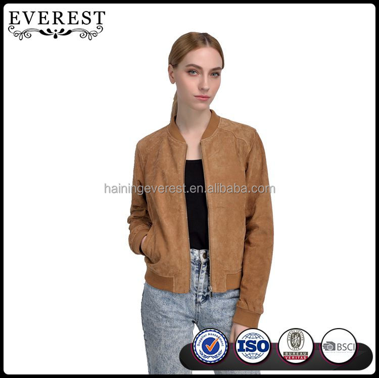 Genuine Leather Bomber Jacket for Women