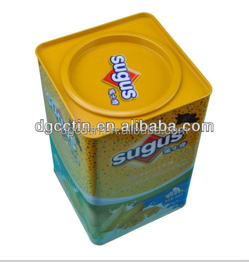 square sugus /candy metal tin box with Pry the lid