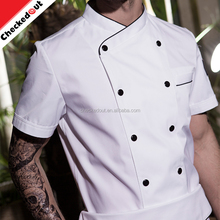 OEM high quality short sleeve wholesale white cooking uniform,double breasted wear restaurant chef coat