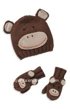 fashional cute hot warm popular sell well animal hat mitten set