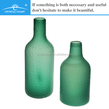 stock hand blown high quality cutting texture mosaic cut glass bottle flower vase wholesale