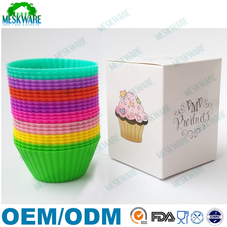Food grade BPA free non stick colored silicone baking cups, silicone cupcake liners