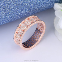 Low MOQ 925 Silver Jewelry Rose Gold Zircon Heart Row Ring