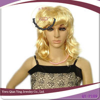 Hot selling fashionable women short golden curly synthetic party wig