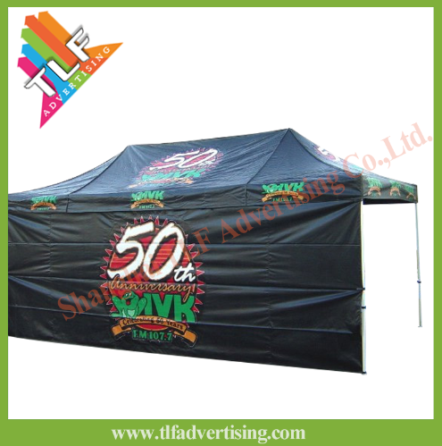 Promotional hexagon 50mm aluminum dye sublimation printing sports event folding tent