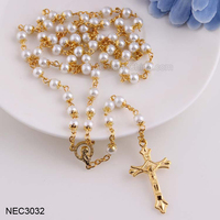 6mm Holy Cross Pendant Faux Pearl Long Gold Rosary Necklace