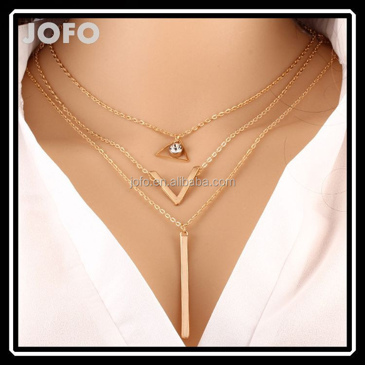 2015 Summer cheap Latest Fashion Simple Jewelry Gold thin Chain Alloy Bar Triangle Pendant Necklace