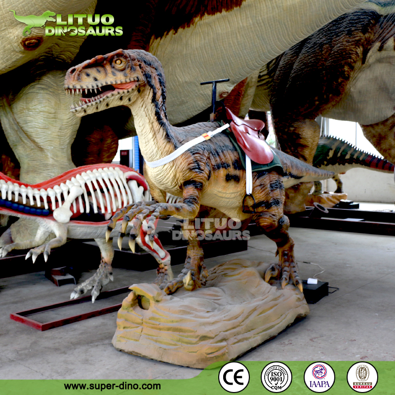 Shopping Mall Animatronic Dinosaur For Kids Ride of Velociraptor