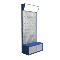 metal power tool floor stand,hardware hanging product stand display with LED lighting