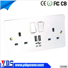 5V/4.8A Hot sales 2015 Double USB 2 Gang UK wall mounted power outlet socket Electric Wall Plug Faceplate 2 USB Outlets