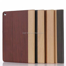 For iPad air 2 stand design wooden grain photo frame hard back case