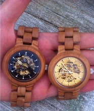 Transparent visible skeleton movement mechanical wooden watch wood material wrist watch