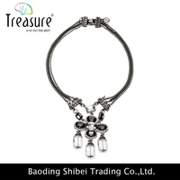 Latest model fashion alloy chain with big rhinestone pendant for women