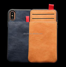 2017 New Product Slim Leather Mobile Credit Card Holder Pouch Sliding Phone Case for iPhone X