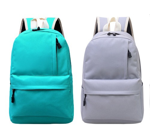 Cotton Canvas Pure Color Travel <strong>Backpack</strong> with Adjustable Shoulder Straps