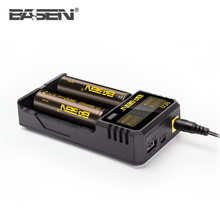 Hot selling product BASEN BD2 LCD portable usb universal seat charger 5v/2a for 18650 battery