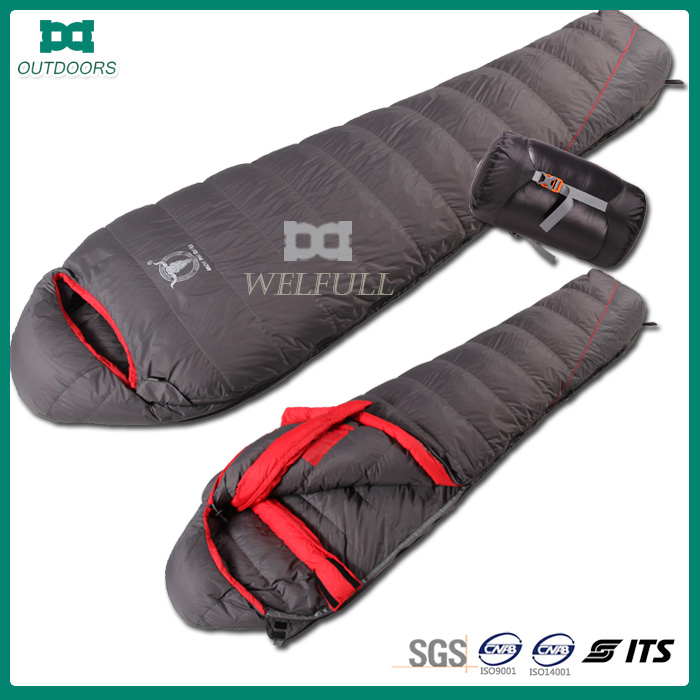 Cold weather feather and down sleeping bag