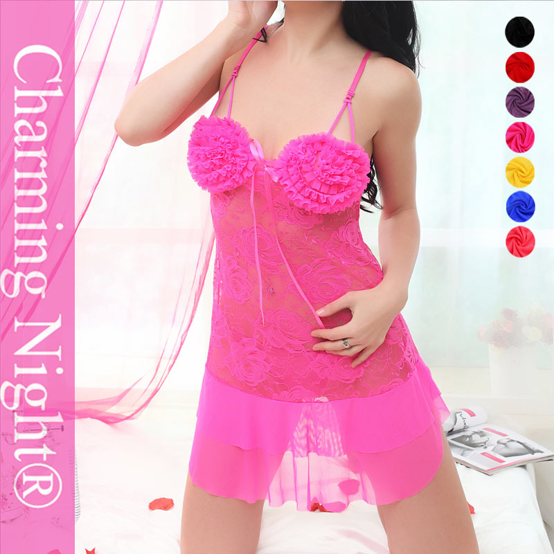 women's underwear transparent girls slip sexy pink satin lingerie