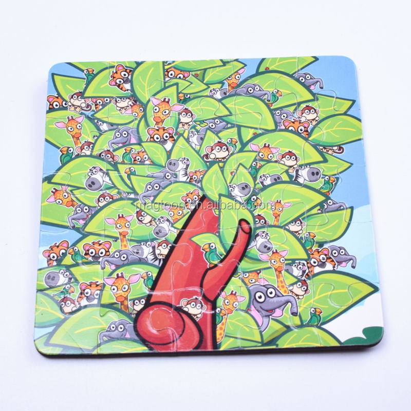 custom wooden magnetic jigsaw puzzles with tree for kids