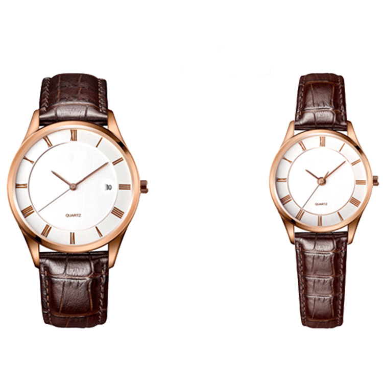 Quartz Watch Stainless Steel Black Leather Strap Pair Watch