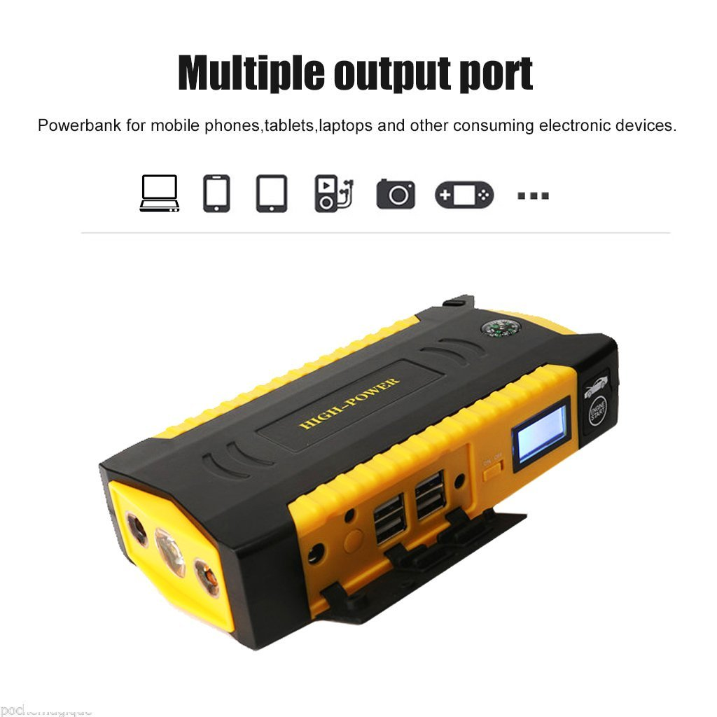 69800mAh portable car jump starter power bank for 6L Diesel vehicles with LCD
