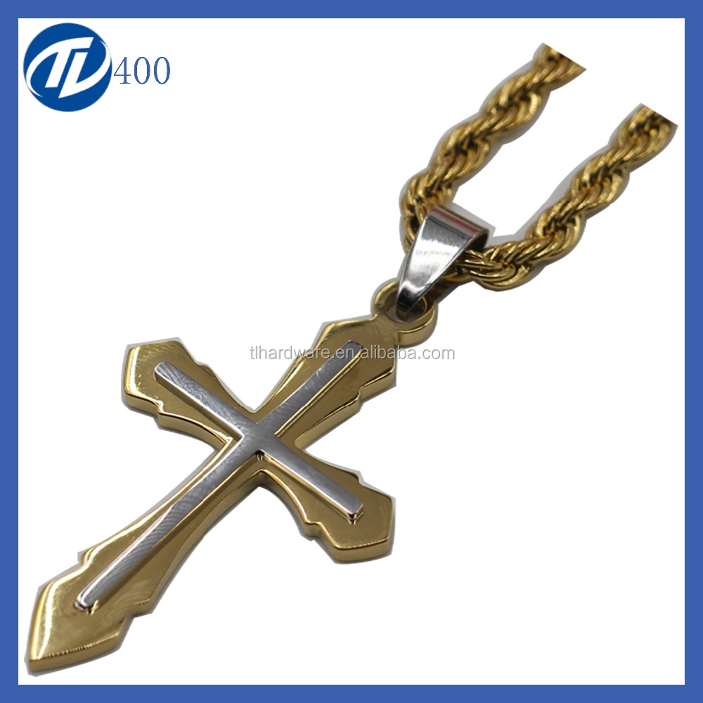 Golden & Silver Holy Crucifix Cross Stainless Steel Pendant Necklace