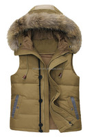 European Style Stylish Men Winter Outdoor Down Vest With Fur Collar