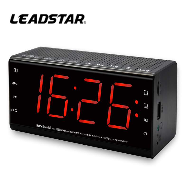 Factory wholesale best hotel wireless bluetooth speaker with alarm clock, FM Radio