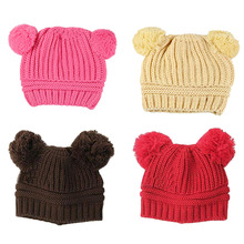 New arrival 0.6-1 years old fashion baby winter hat soft lovely wool knitted cap