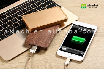 metal casing 4000mah li-polymer wooden portable LED indicator power bank with customize logo for smart