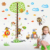 Kids cartoon jungle forest animals zoo monkey tree wall sticker for kids baby nursery kindergarten room wall decal home decor