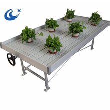 Rolling bench hydroponic flood tray ebb and flow table