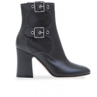 Women Black Leather Chunky Heel Ankle