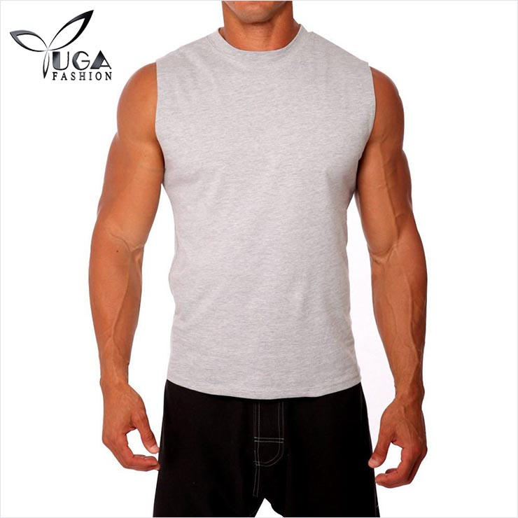 Mens Heather Grey Gym Wear Loose Fit Sleeveless Muscle Tank Tops