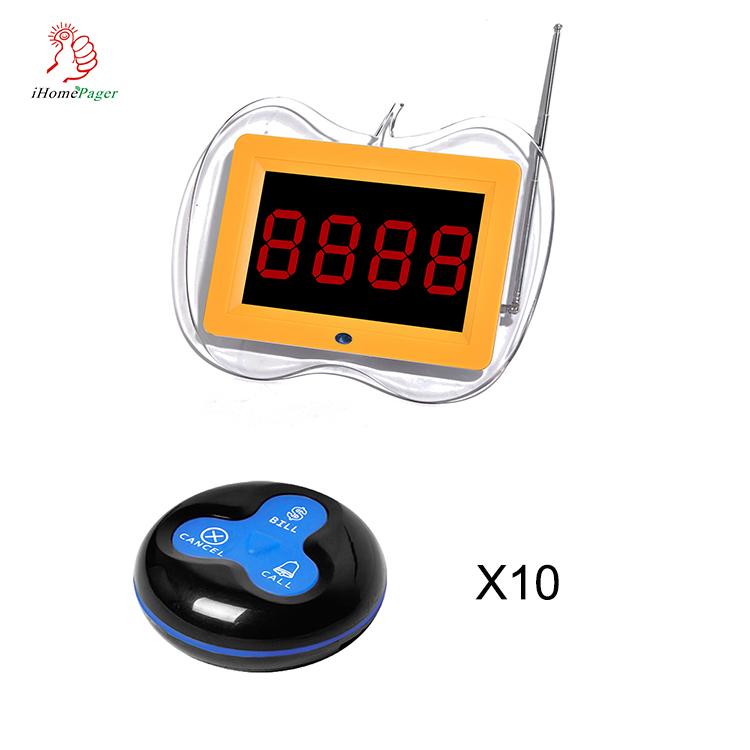 433.92 Mhz sans fil de restaurant table serveur d'appel client affichage et 3 touches bouton système de radiomessagerie - ANKUX Tech Co., Ltd