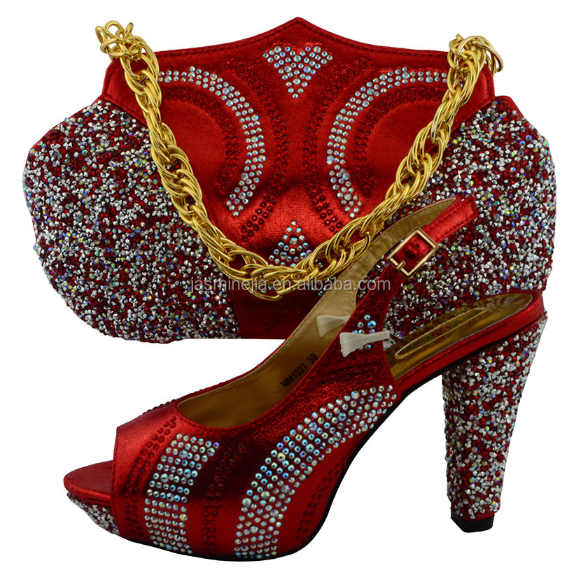 New designs red italian dress <strong>shoes</strong> with matching bags for african party size38 to 43 Apr-19-2017