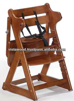 adjustable position high chair . knock down baby high chair,baby chair wooden , baby rest chair , wooden baby high chair