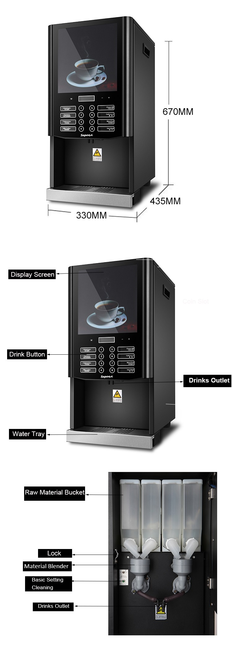 Sapoe high speed revolution instant espresso fully automatic commercial coffee machine