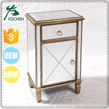 Modern Venetian Mirrored Antique Gold Chrome Bedside Table Mirror