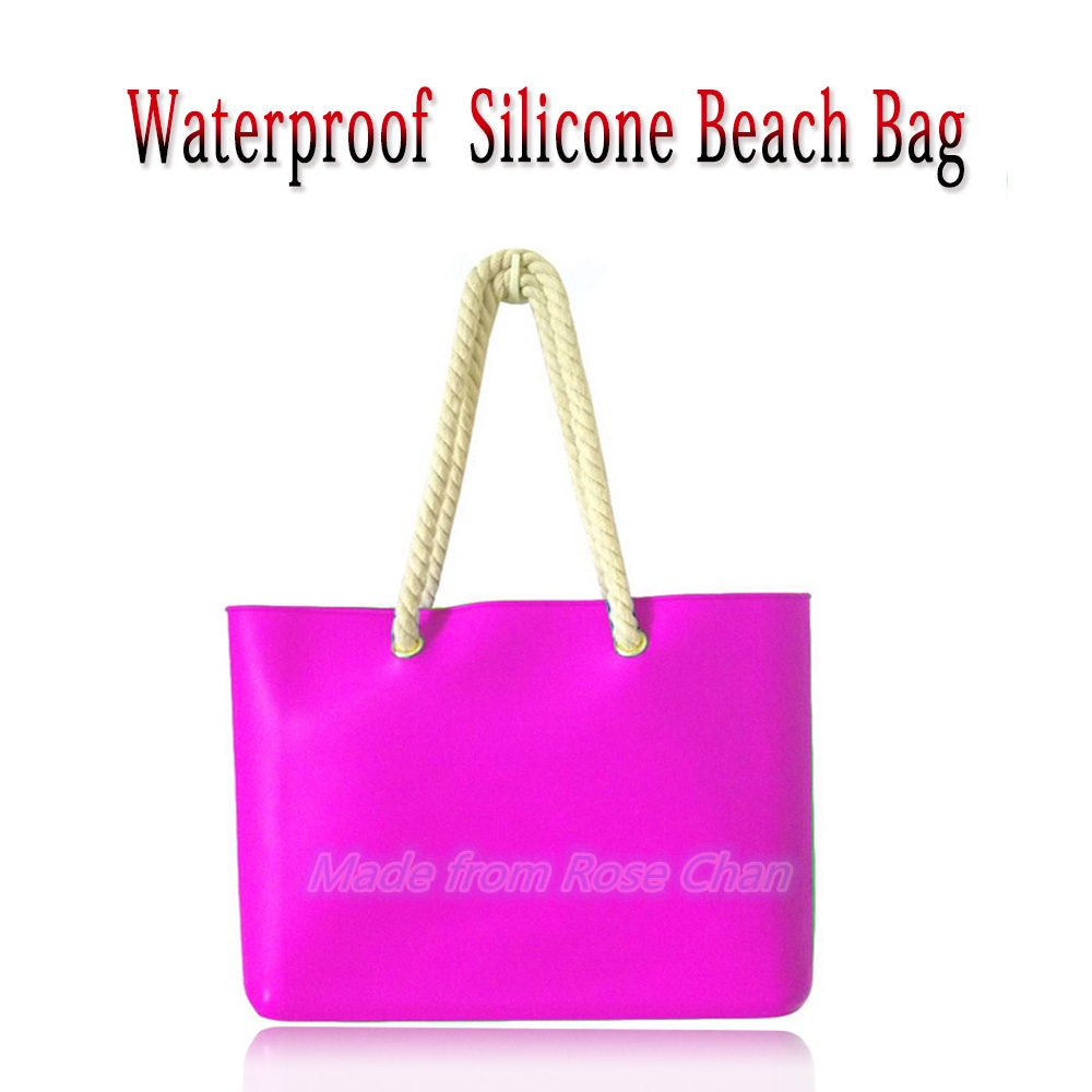 Fashion Design Waterproof Candy Pure Color Jelly Rope Straps Silicone Beach Bag Handbag For Ladies