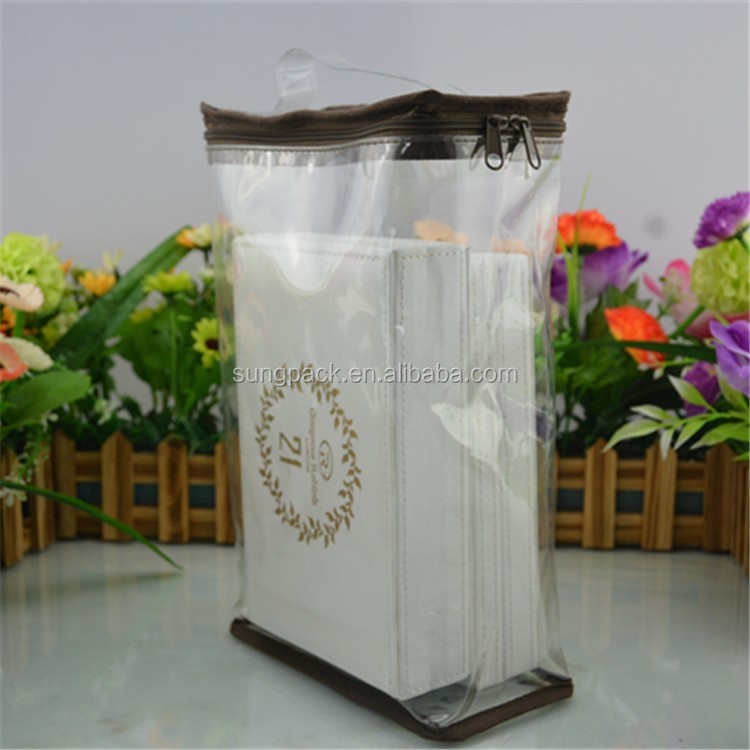 Fashion PVC Plastic Packaging Bag For Blanket Quilt With Wire Travel Storage Bags for Clothes Bedding Pillows