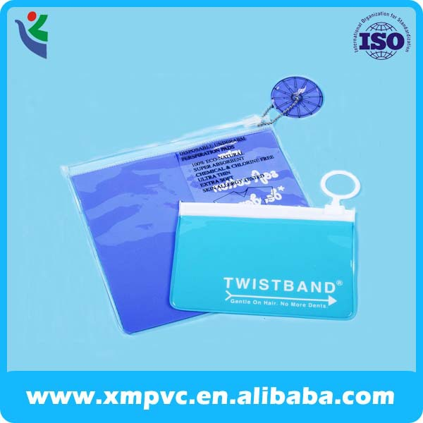 Printed clear pvc cosmetic packaging bag with ziplock